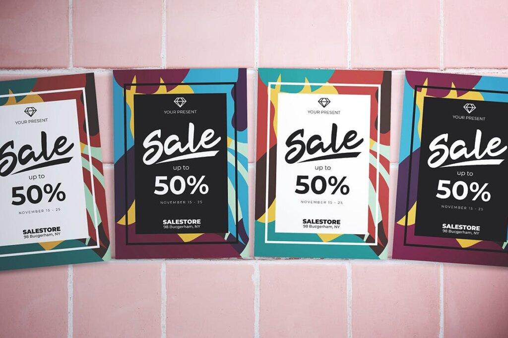 创意抽象渐变色块拼图风格促销海报传单模板素材Abstract Sale Flyer插图(3)