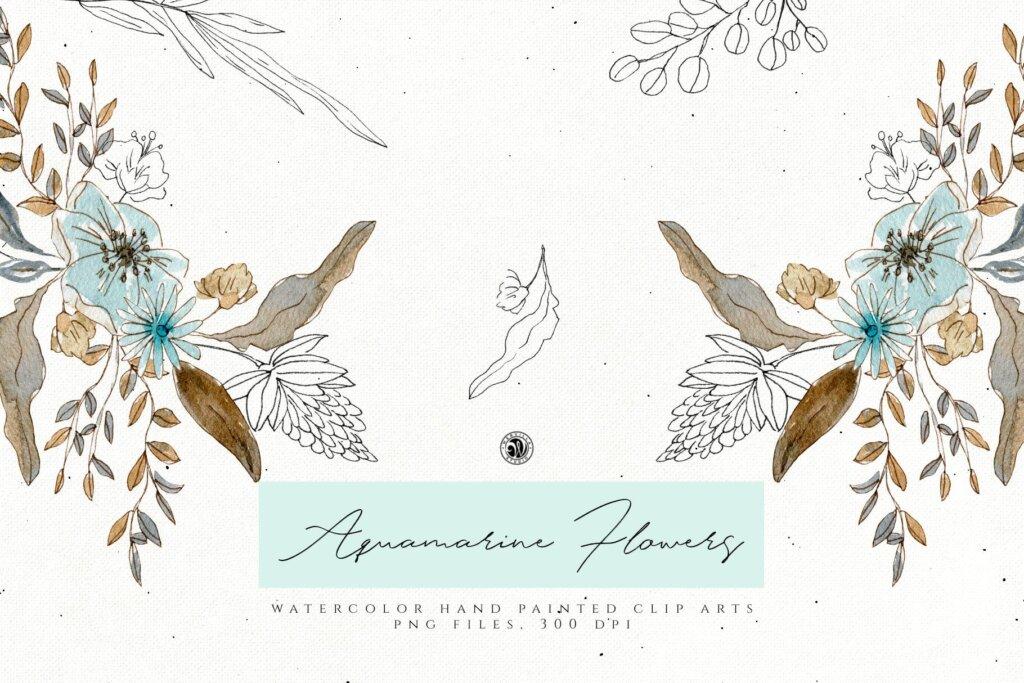手绘海蓝宝石水彩画花卉水彩素材下载Aquamarine Watercolor Flowers插图(3)