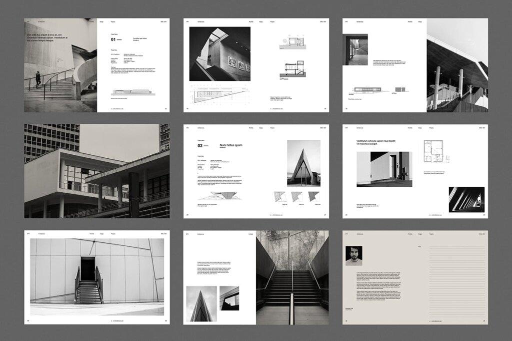 现代建筑艺术博物馆画册模板手册模板素材下载Architecture Brochure插图(3)