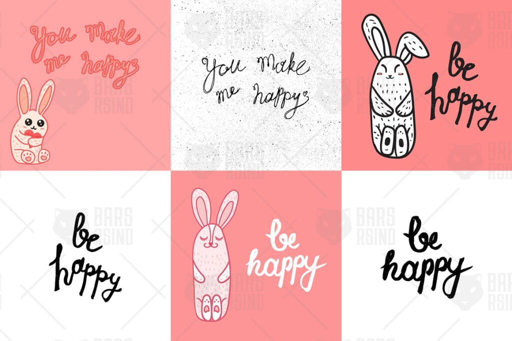 电商购物袋包装图案/情侣T恤装饰图案纹理素材Be Happy MFP499插图(3)