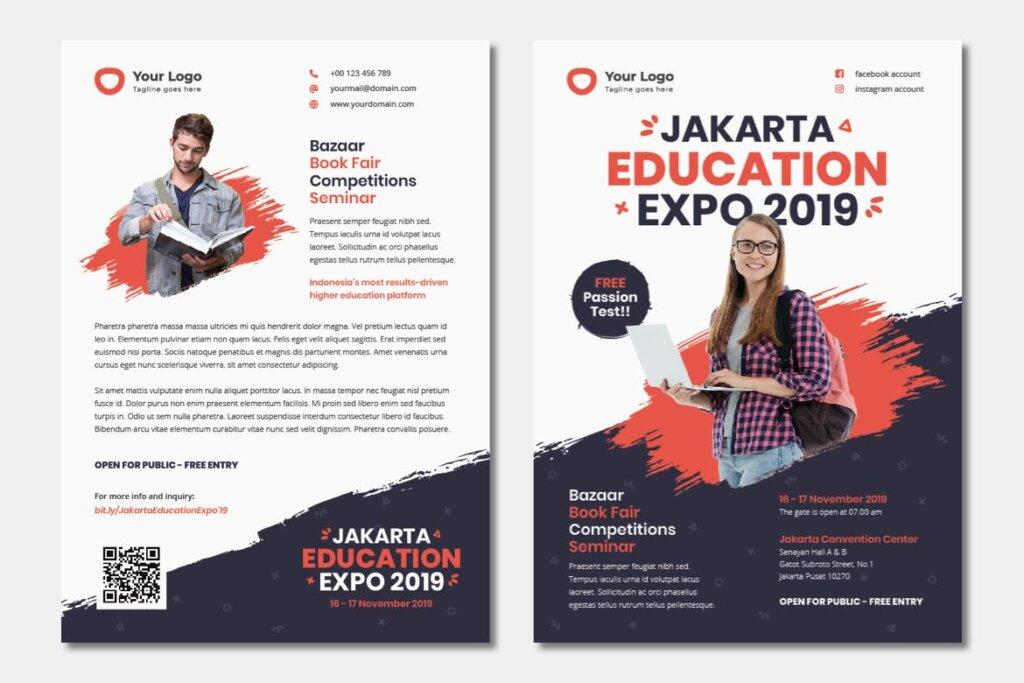 企业商务小册子/双折页小册子模板活动传单Bifold Brochure Template Education Flyer插图(3)