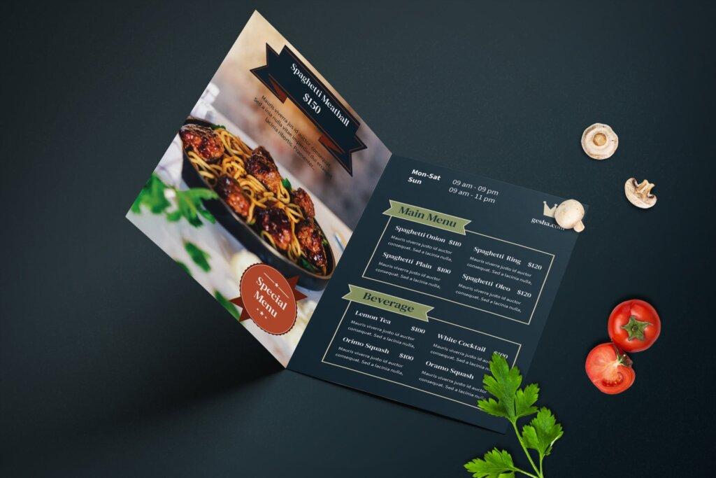 餐厅菜单酒店菜单折页模版素材下载ERV2F4M插图(3)