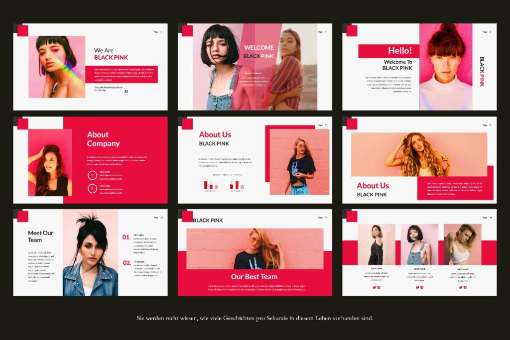时尚服装品牌企业品牌宣传幻灯片PPT模版下载Black Pink Creative Google Slide插图(3)