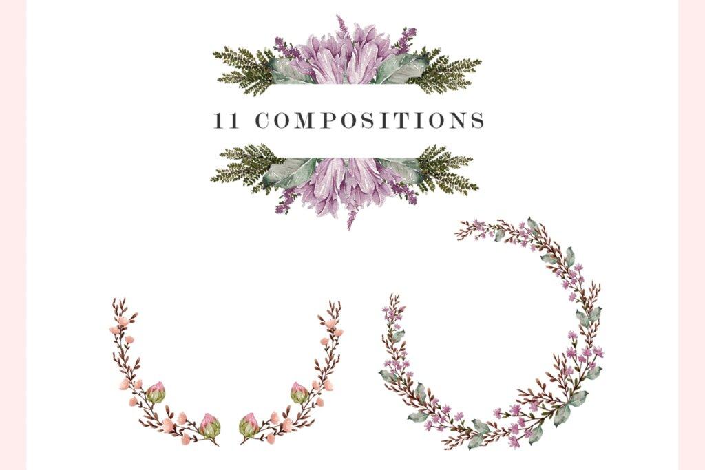 婚礼设计布艺装饰图案/布料装饰图案素材下载Bloomy Watercolor Collection插图(3)
