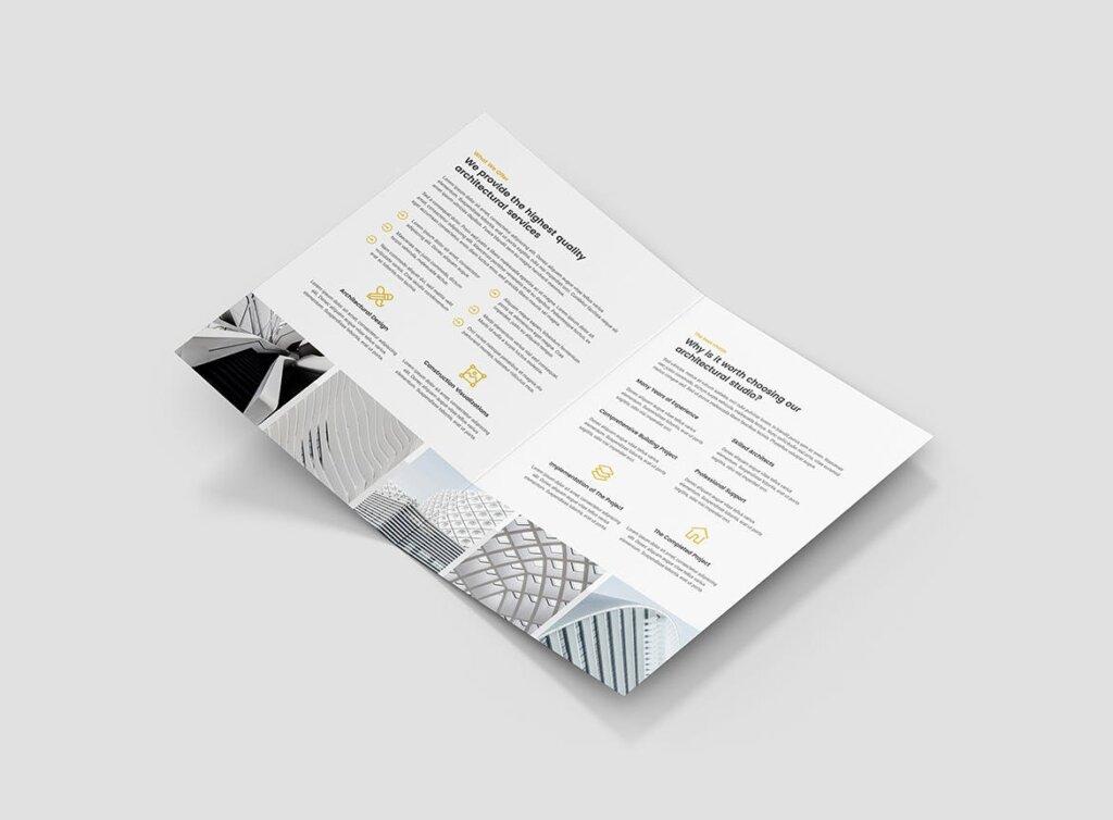 建筑工作室投资组合三折页模板素材下载Brochure Architect Bi Fold插图(3)