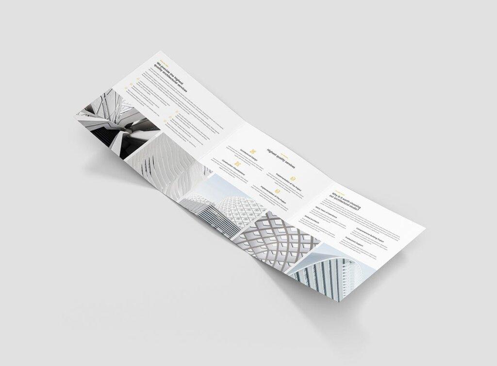 工业建筑设计工作室产品宣传折页模版素材下载Brochure Architect Tri Fold Square插图(3)