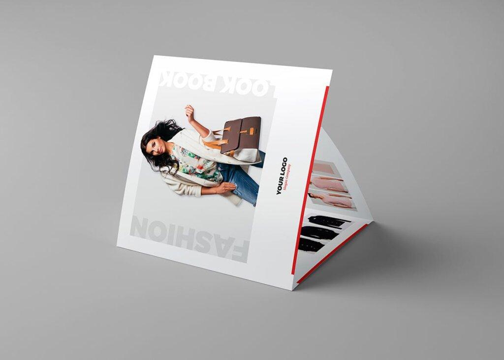 服装大促销宣传折页模版素材下载Brochure Fashion Look Book Tri Fold Square插图(3)