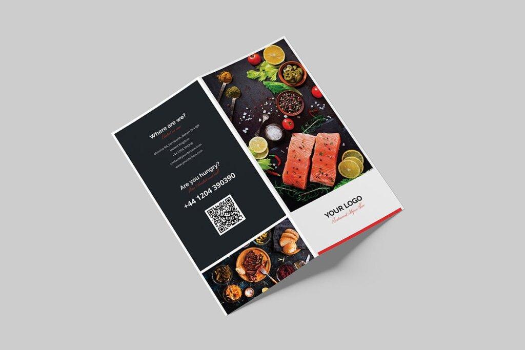 酒馆餐饮店两折页传单模版素材下载Brochure Restaurant Bi Fold DL插图(3)