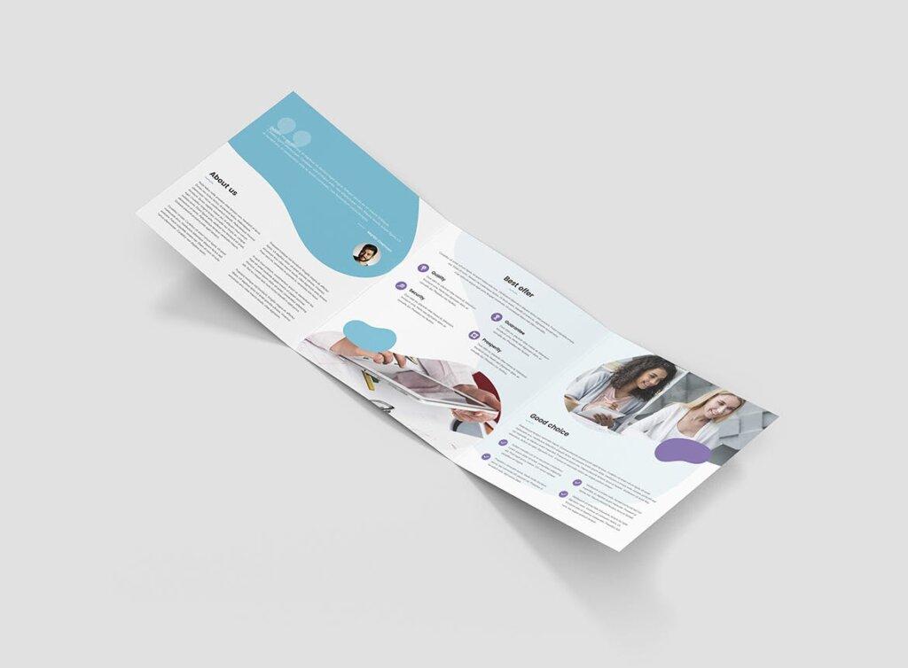 创意工作室三折页企业品牌宣传产品介绍模版素材下载Brochure StartUp Agency Tri Fold Square插图(3)