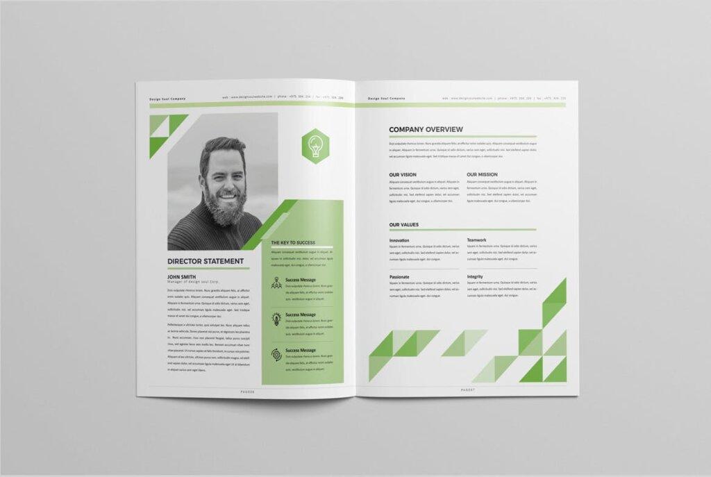 绿色环保简约杂志手册模板素材下载UXZT87插图(3)