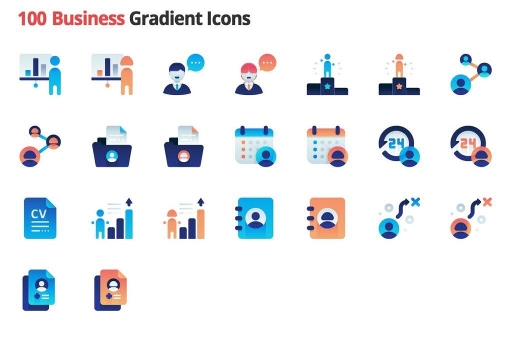 100个图标素材组织管理图标源文件素材下载Business Employment Vector Gradient Icons插图(3)