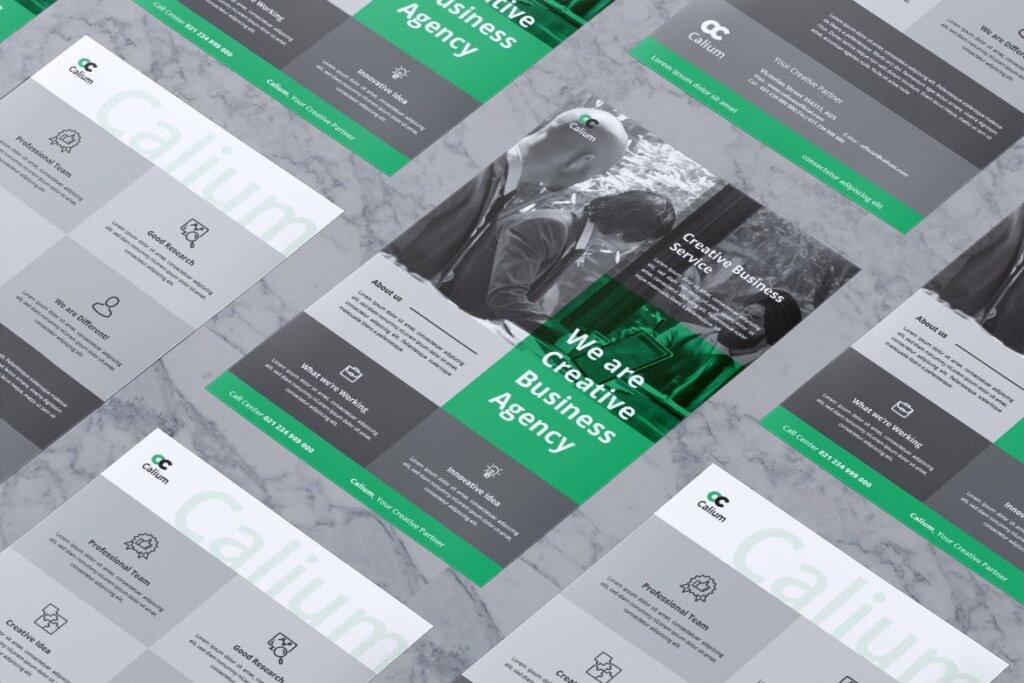 高端精致企业品牌宣传市场模版素材下载CALIUM Corporate Business Flyer插图(3)