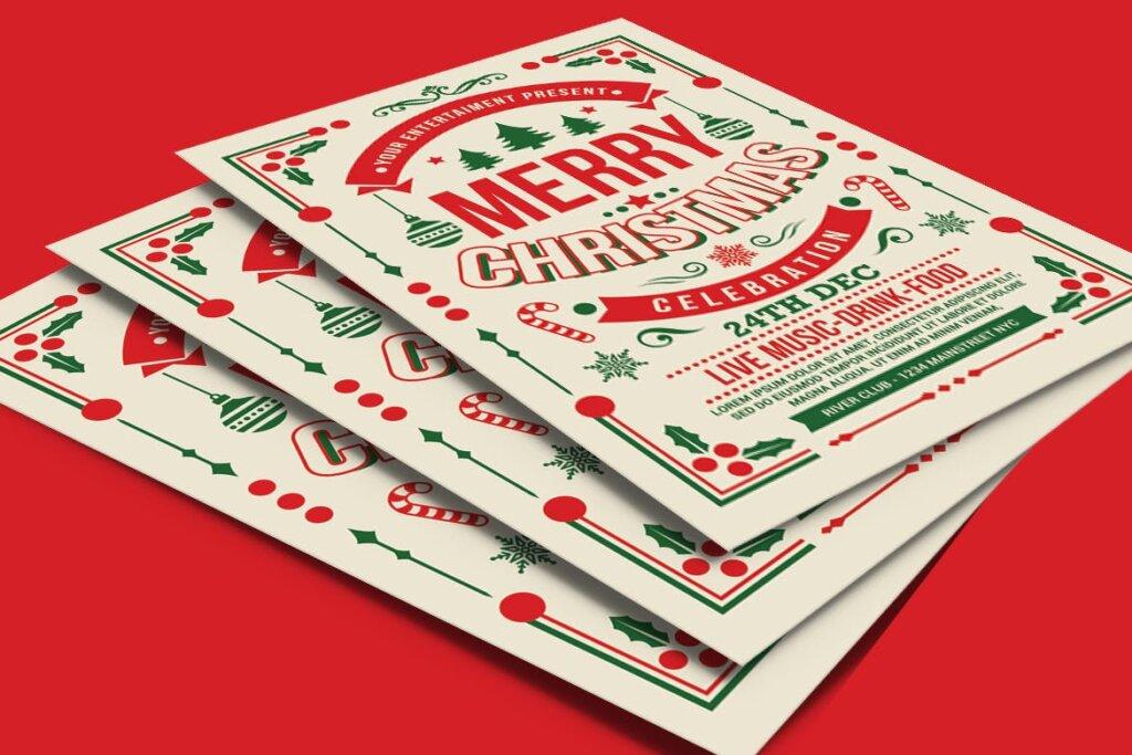 圣诞节线性装饰背景海报传单模板下载Christmas Party Celebration BG5XADJ插图(3)