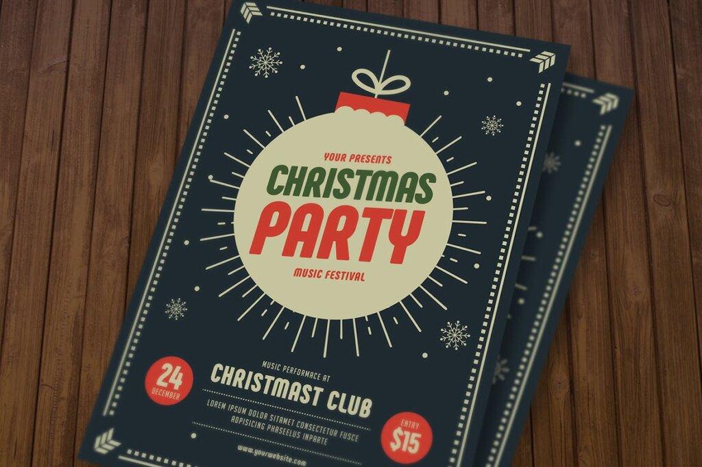 圣诞节海报宣传单素材模板Christmas Party Flyer KY4WS2插图(3)