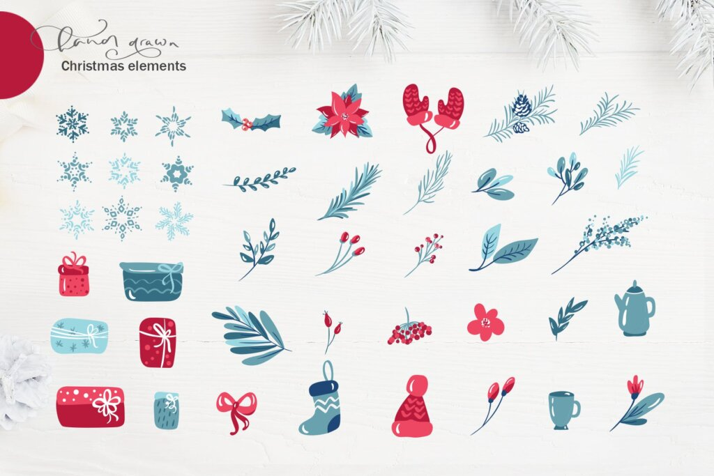 圣诞节花环装饰元素纹理素材/品牌装饰图案素材纹理Christmas floral holiday elements插图(2)