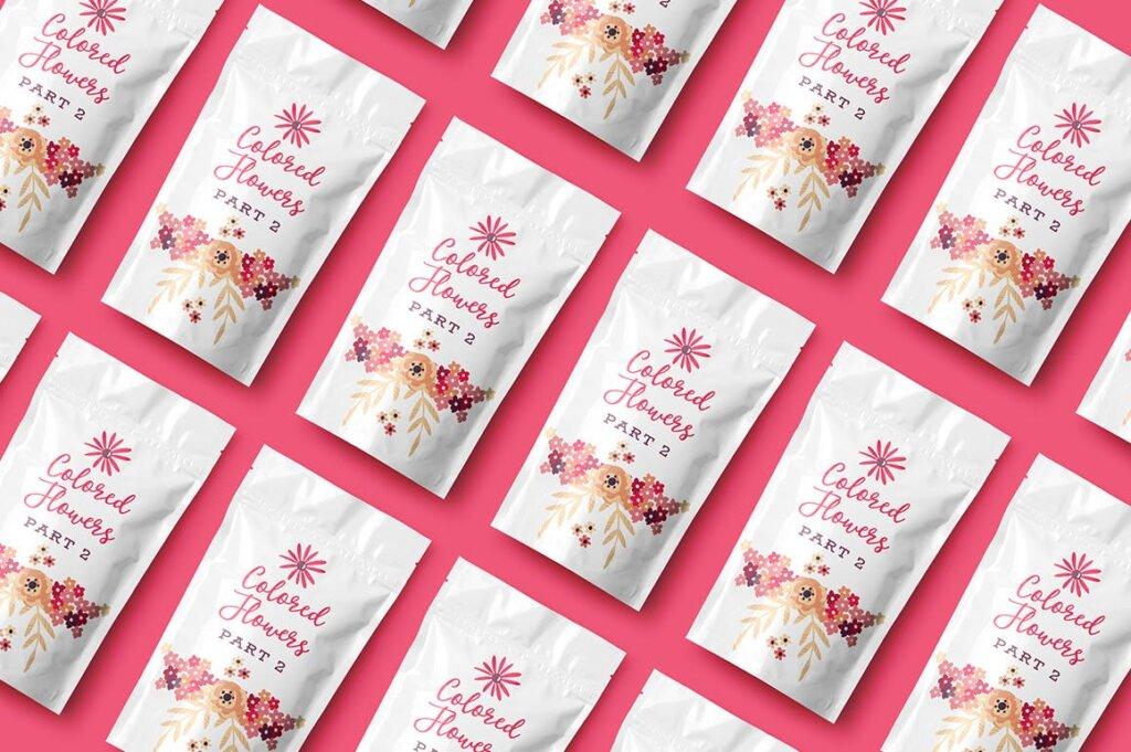 高端糖果坚果食品品牌包装图案纹理素材Colored Flowers Part 2插图(3)