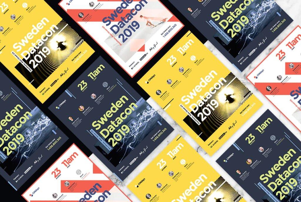 国际大型讲座会议海报传单模板素材下载Conference Poster 1插图(2)