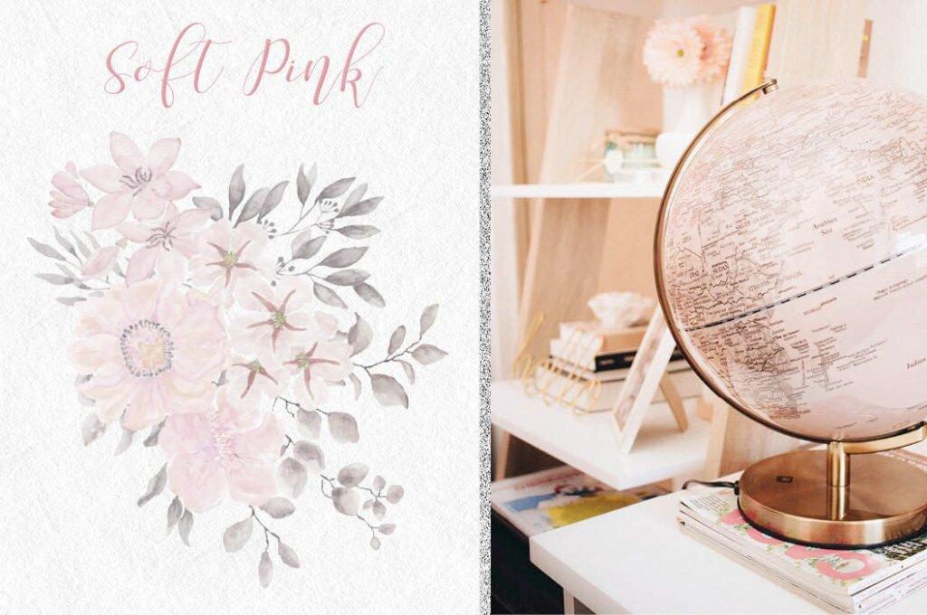 婚礼装饰图案花纹背景图案下载Coral Garden Watercolor Clip Art Collection插图(3)