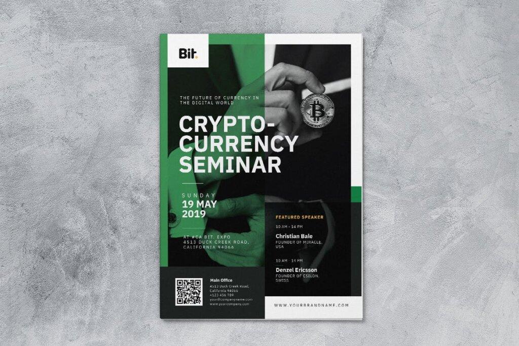 数字加密货币研讨会AI和PSD传单海报模板素材下载Crypto Currency Seminar AI and PSD Flyer Vol 1插图(3)