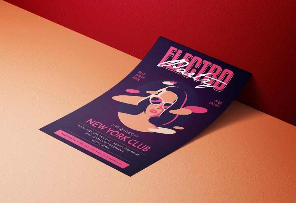 场景式电子音乐派对传单海报Electro Party Flyer JXHDF8插图(3)