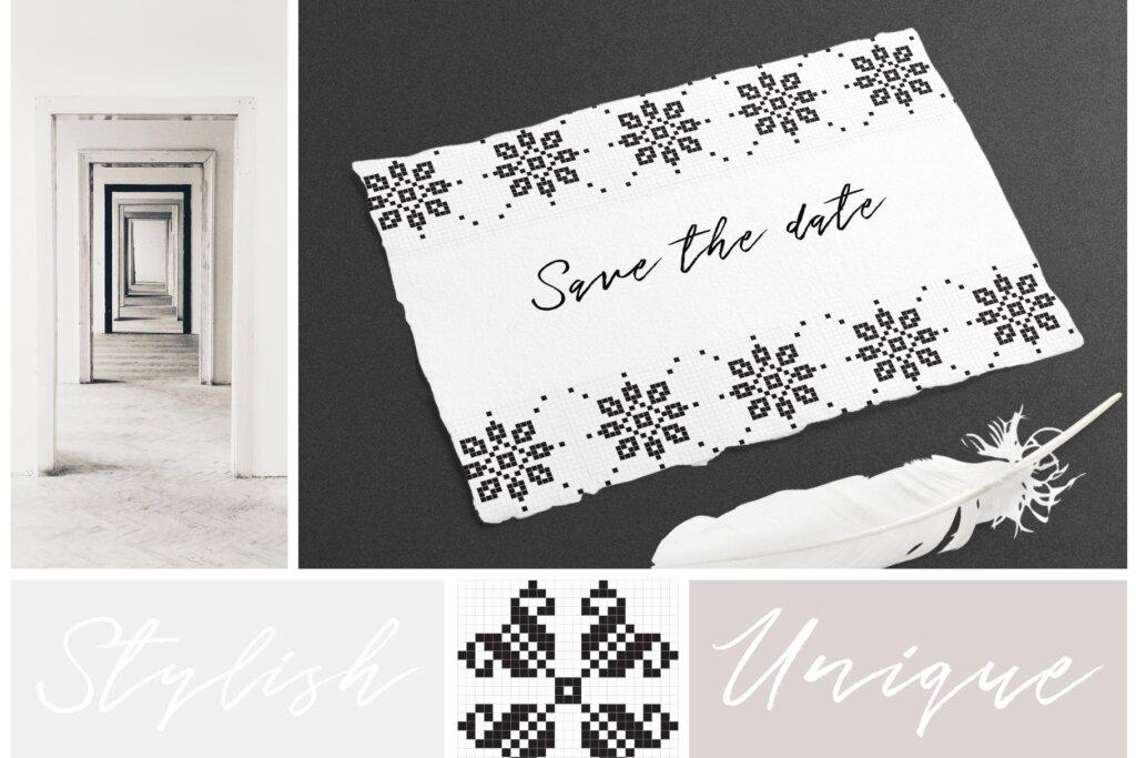 20个刺绣风格矢量图案素材纹理素材Embroidery Style Vector Patterns插图(2)