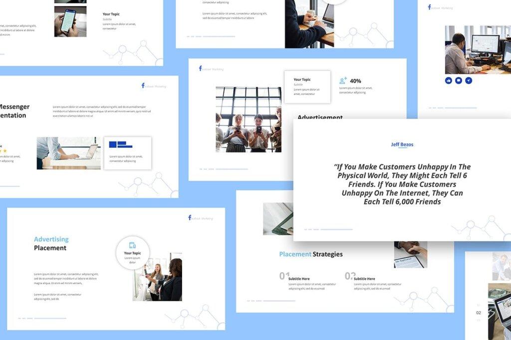 营销演示文稿提案创意演示PPT模版Facebook Marketing Powerpoint Presentation插图(3)