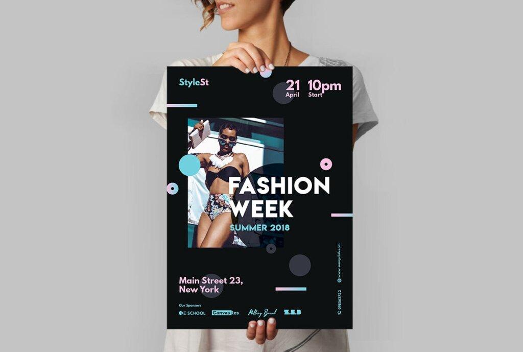时尚风格海报传单/周末海报传单模板素材下载Fashion Week Poster插图(3)