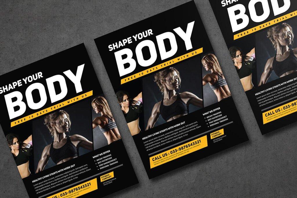 健身房和运动俱乐部宣传单海报模版素材下载KTZSLJ插图(3)