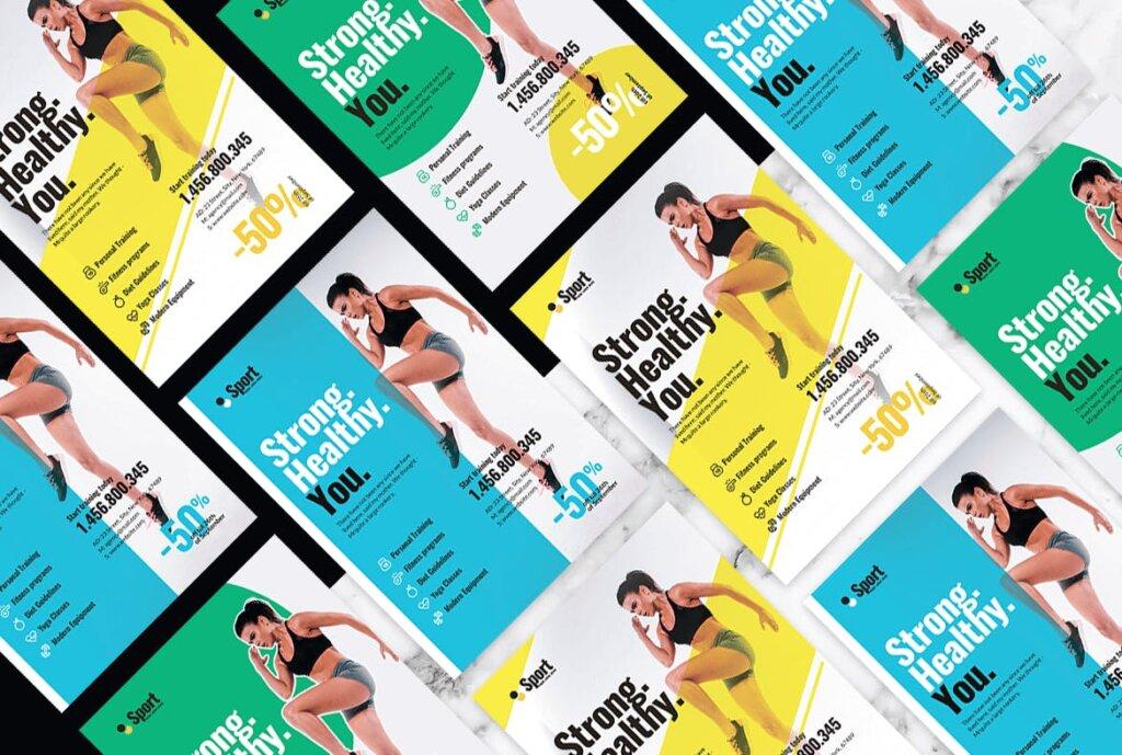 高端现代简约运动瑜伽海报传单模版素材97R6D5插图(3)