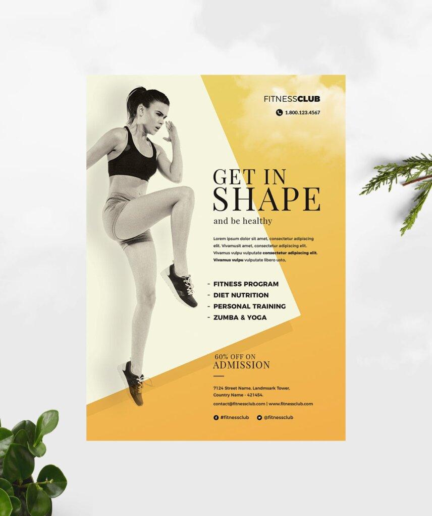 高质量的健身/瑜伽健身运动海报传单模板Fitness Gym Flyer Template插图(3)