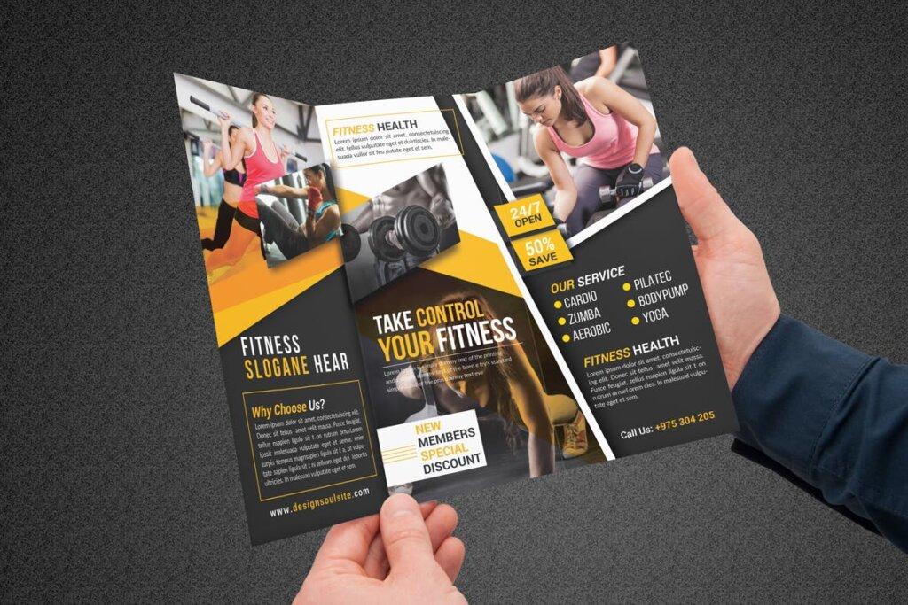 健康与健身手册折页模版素材下载Fitness Tri Fold Brochure插图(3)