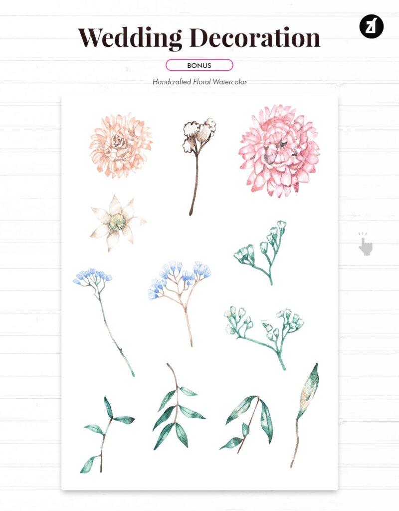 花卉手绘水彩画与奖金的花卉装饰图案纹理海报传单模板素材GQ4CKYT插图(3)