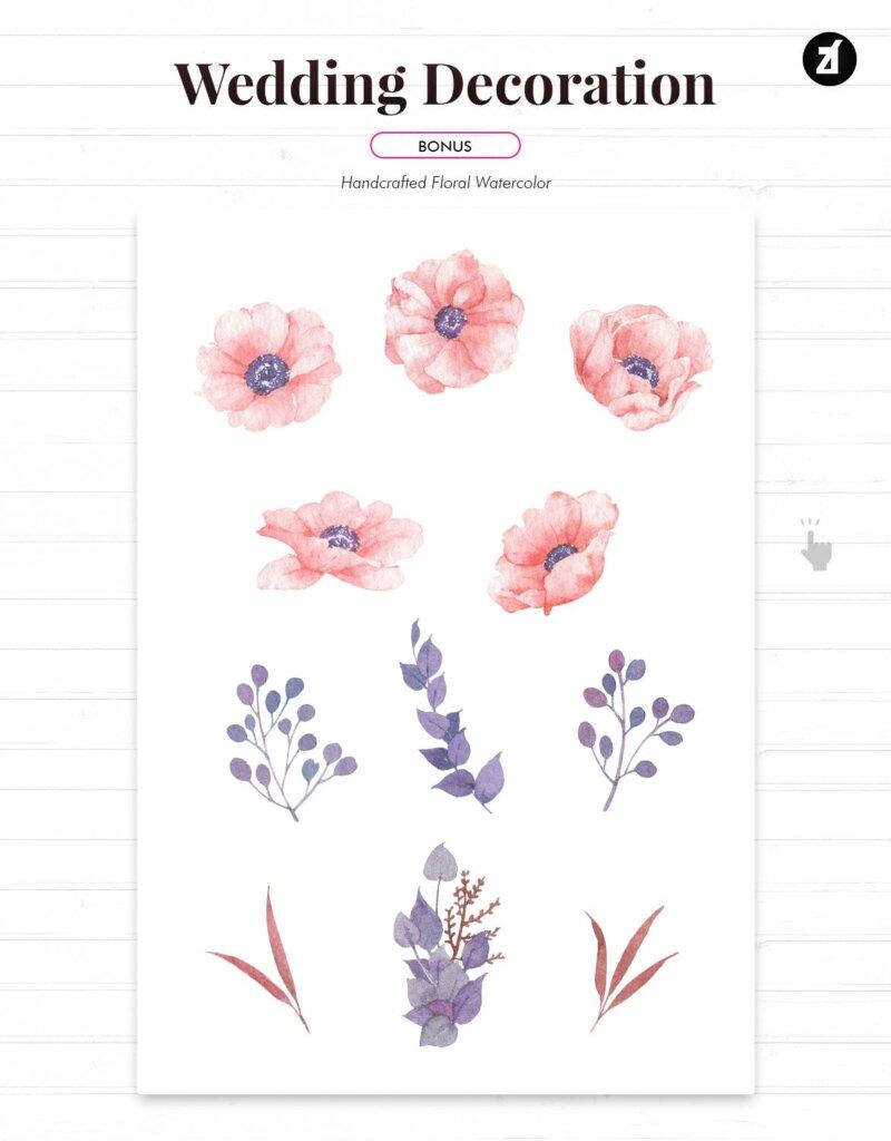 手绘花卉水彩婚礼请柬传单海报模板Floral Hand-drawn Watercolor Wedding Invitation 4SEFG25插图(3)