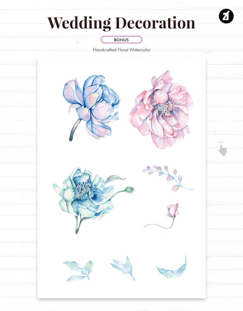 蓝粉红色手绘水彩画传单海报模板Floral Hand-drawn Watercolor Wedding Invitation EFMSCVH插图(3)
