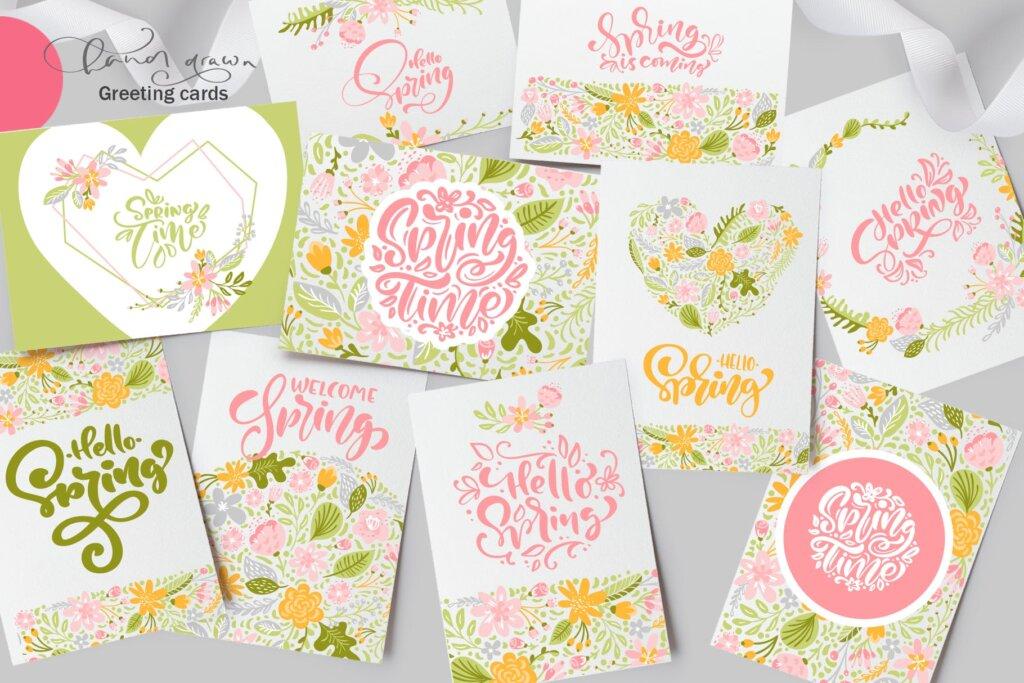 品牌标志图案纹理/品牌包装装饰图案纹理素材Fresh Feeling Spring Vector Kit SVG插图(3)
