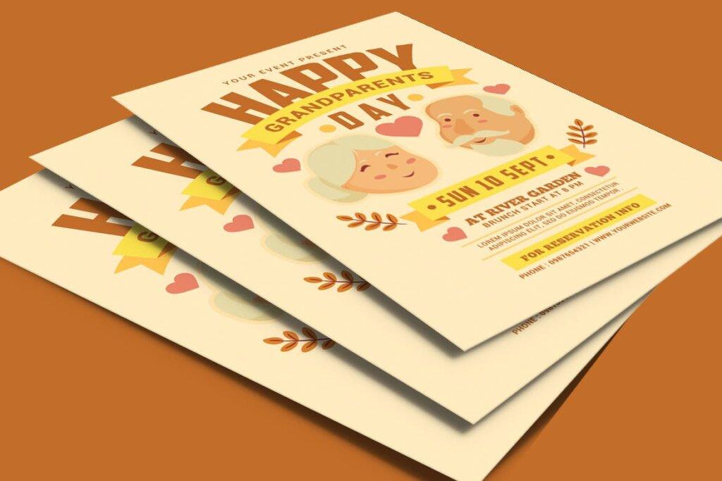 感恩节日活动海报传单模版素材下载Grandparents Day Flyer插图(3)