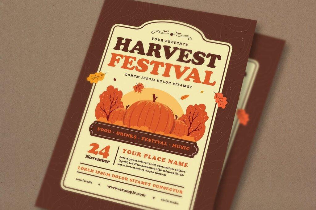 丰收季节庆祝活动传单海报模版素材Harvest Festival Event Flyer插图(3)
