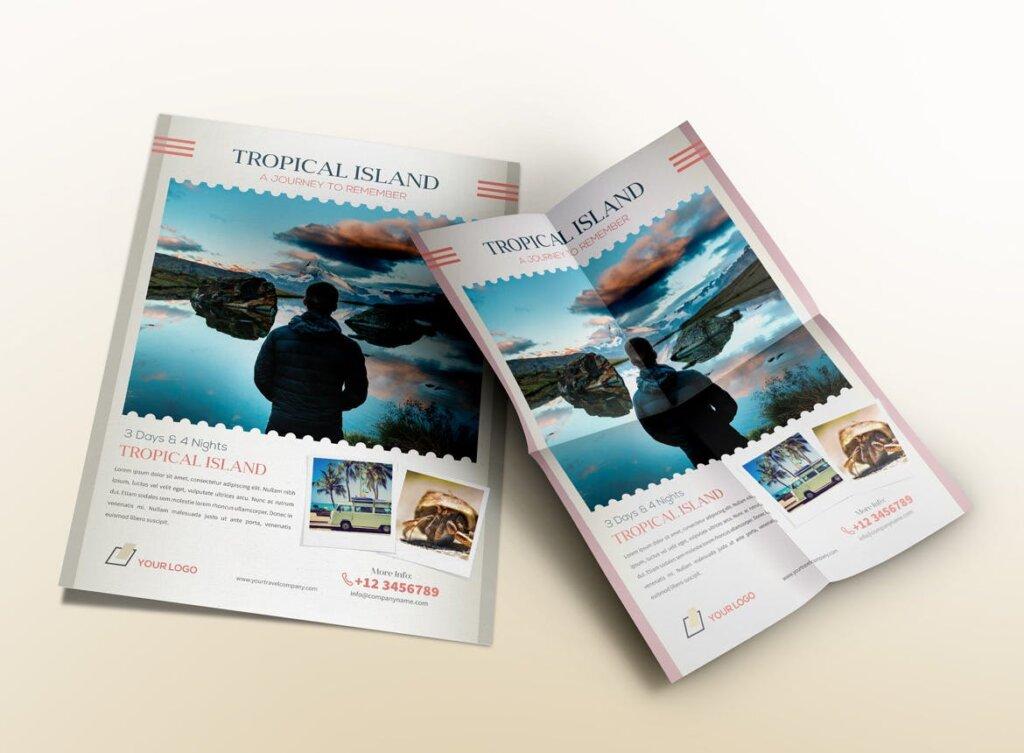 假日旅行热带岛屿旅行传单海报模板素材Holiday Travel Journey Flyers RX65B8插图(3)