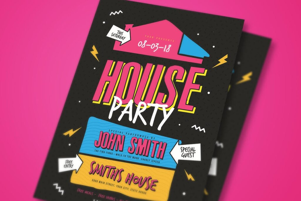 家庭圣后派对创意海报传单模板素材House Party Flyer插图(3)