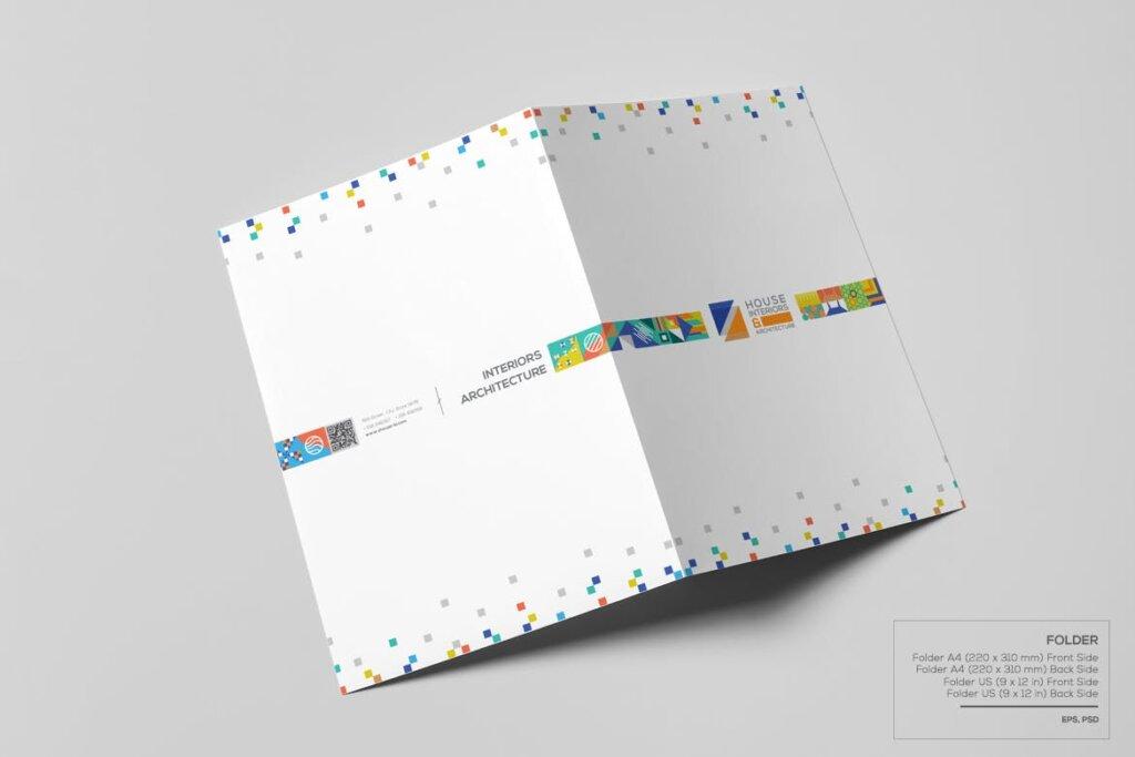 几何纹理图案装饰品牌宣传海报传单模板素材下载Interiors & Architecture – Print Pack Template插图(3)