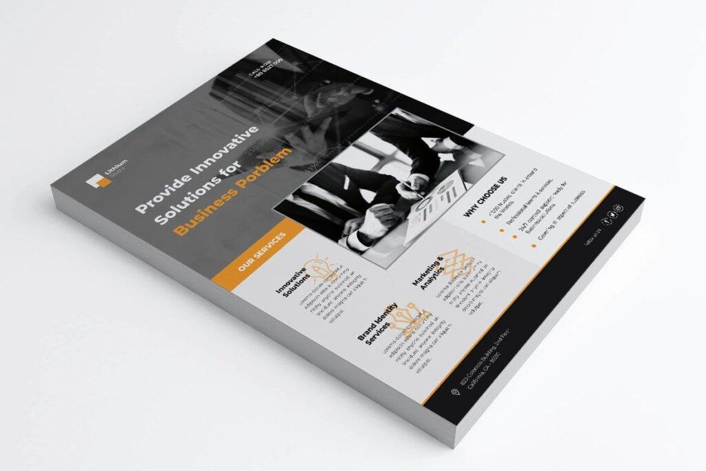 企业商务传单海报模板素材下载LITHIUM Multipurpose Business Flyer插图(3)