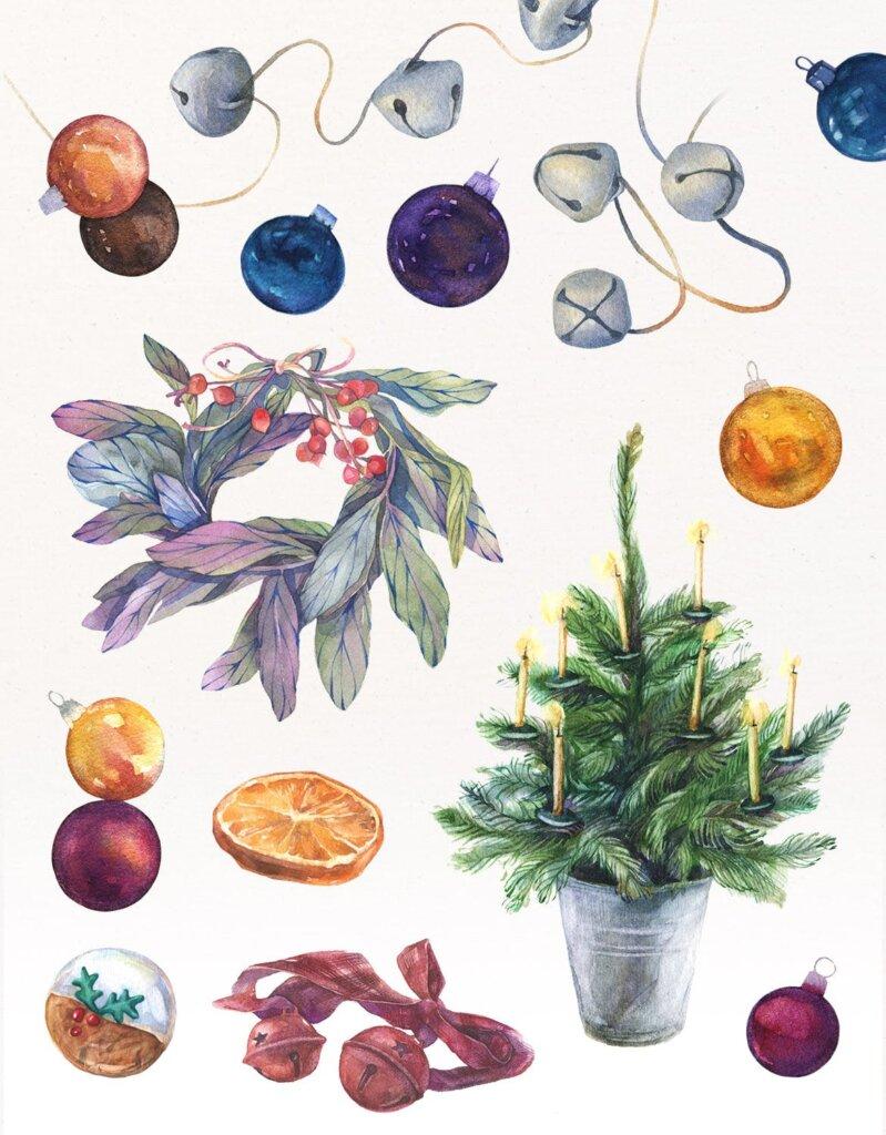 甘草圣诞水彩画装饰图案纹理/圣诞节周边产品素材Licorice Christmas Watercolor Kit插图(3)
