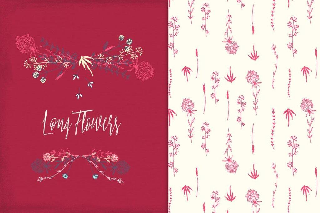 古典沙发装饰图案花卉图案纹理素材Long Flowers UBPGHU插图(3)