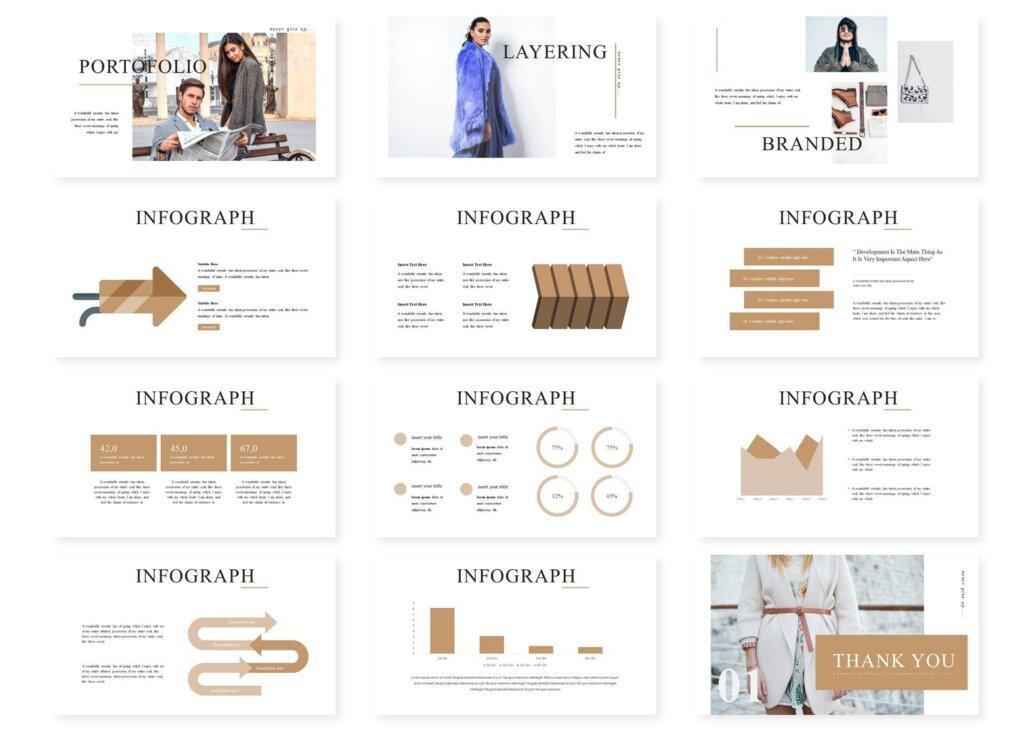 时尚服装行商务演示幻灯片模版下载Lookbook Powerpoint Template插图(3)
