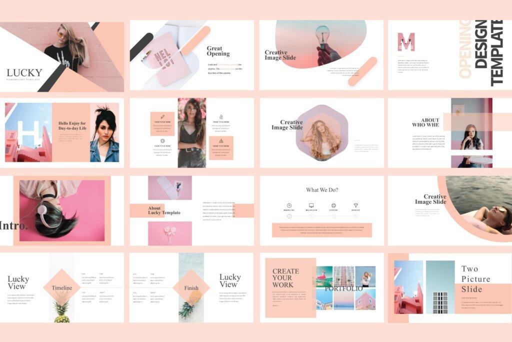 女性时尚品牌产品介绍数据幻灯片ppt模版Lucky Powerpoint Template LS插图(3)