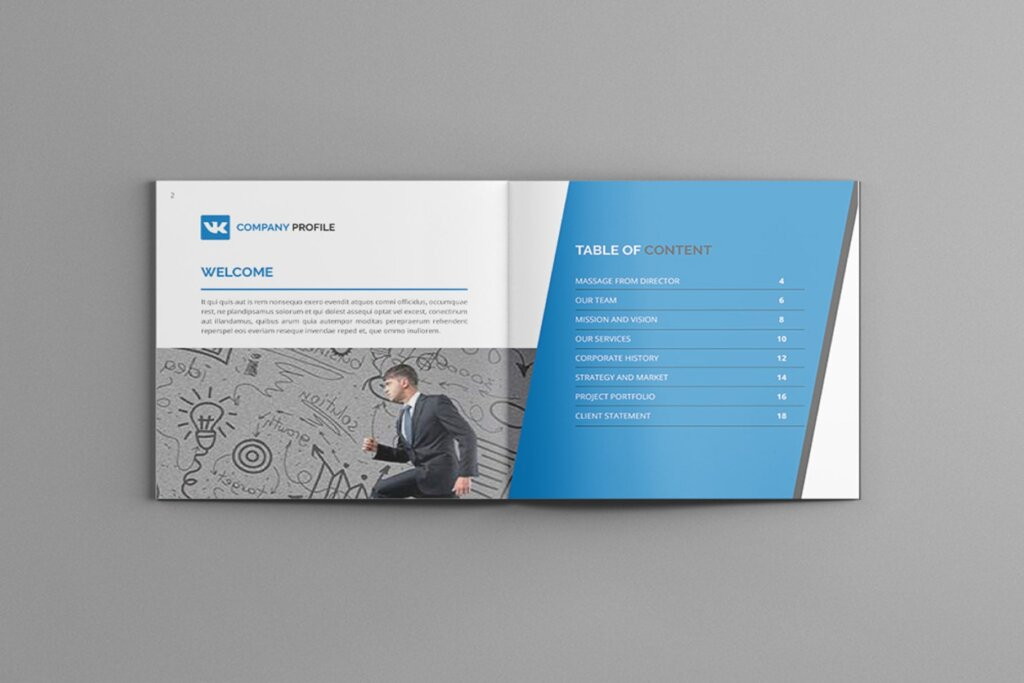 公司简介品牌宣传小册子模板素材Mavka Square Company Profile Brochure Template插图(3)
