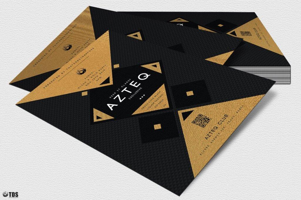 创意几何拼图企业发布会传单海报模板素材下载Minimal Black and Gold Flyer Template V3插图(3)