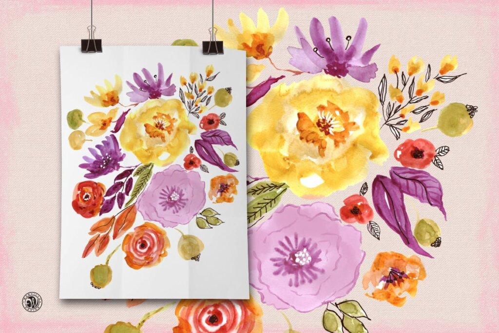 精致混合装饰红色花卉图案纹理素材Mixed Media Flowers P74RCD插图(3)