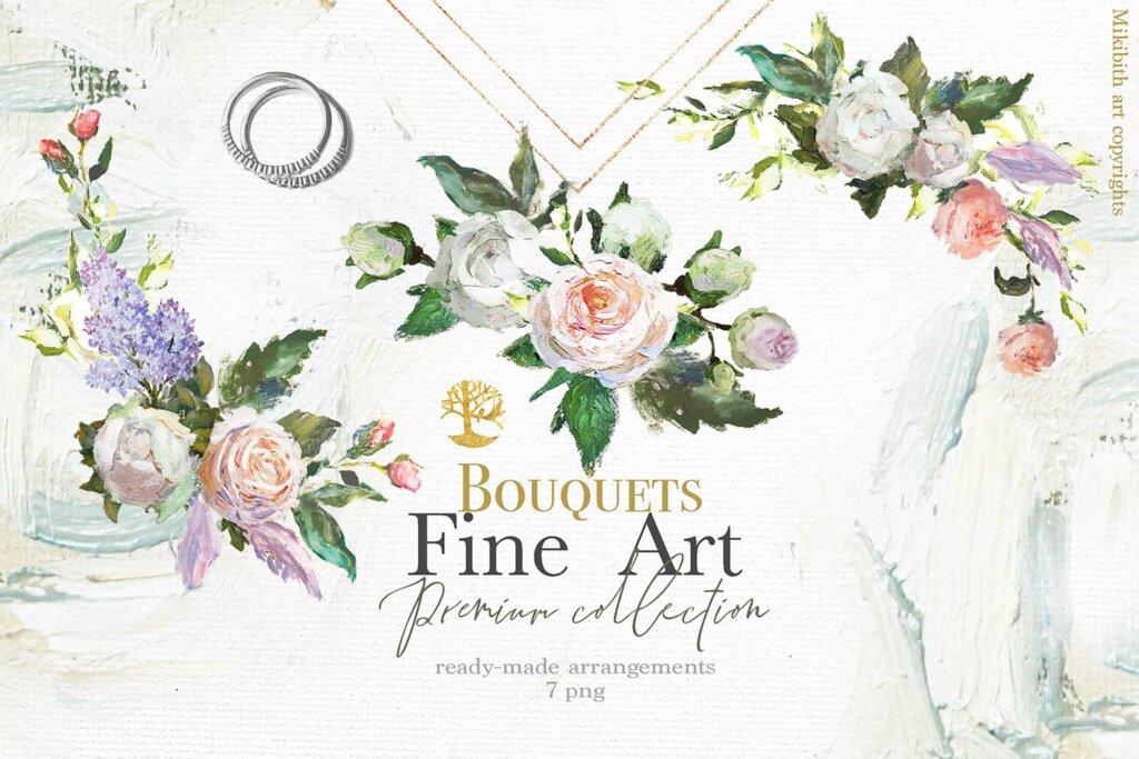 油画装饰图案婚礼邀请函装饰图案下载Oil painted Fine Art roses collection插图(3)