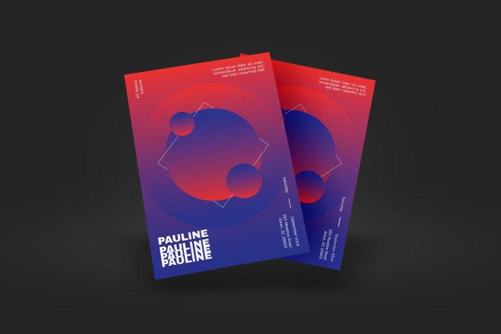 企业新产品发布会海报传单模板素材下载PAULINE Poster Design插图(3)